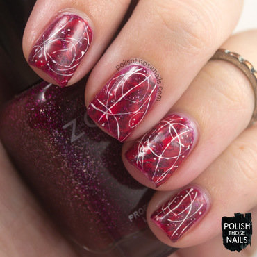 Red sparkle messy base white random nail art 4 thumb370f