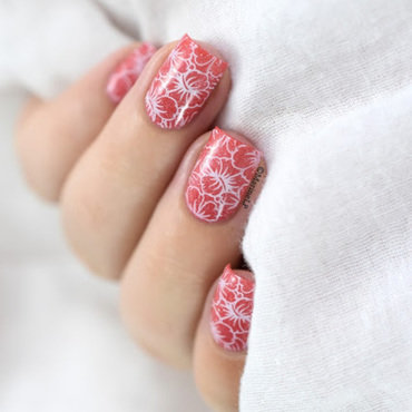 Hibiscus flowers nail art by Marine Loves Polish