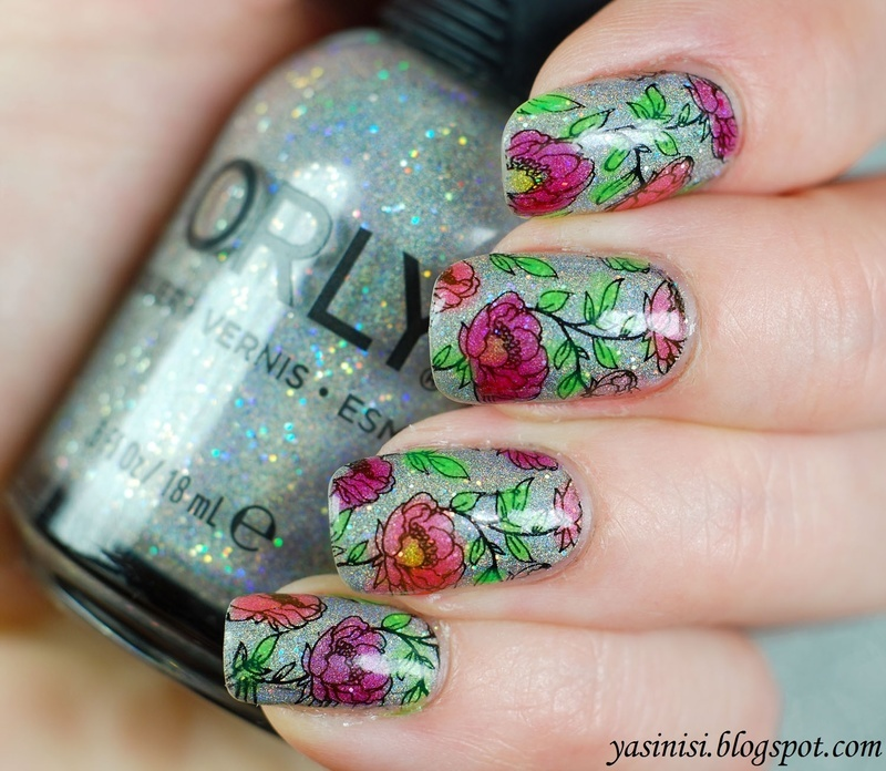 Tinted flowers nail art by Yasinisi