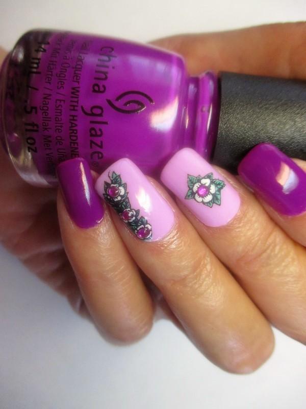 Violet Vibes nail art by NinaB