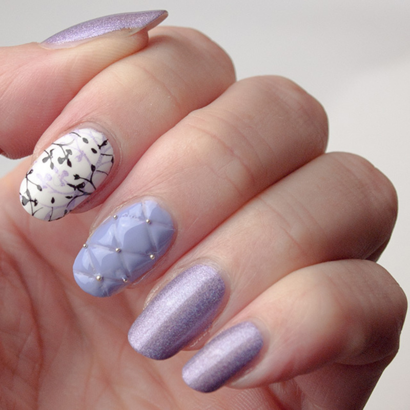 Quilted & leaves nail art by What's on my nails today?