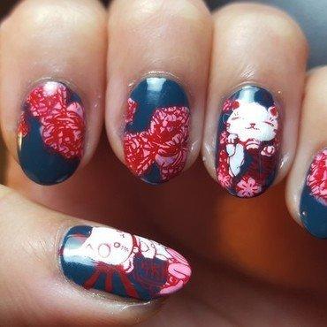 Flower Power Kitties nail art by Alisha Worth