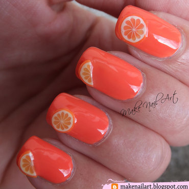 Orange With Oranges Nail Art Design nail art by Make Nail Art