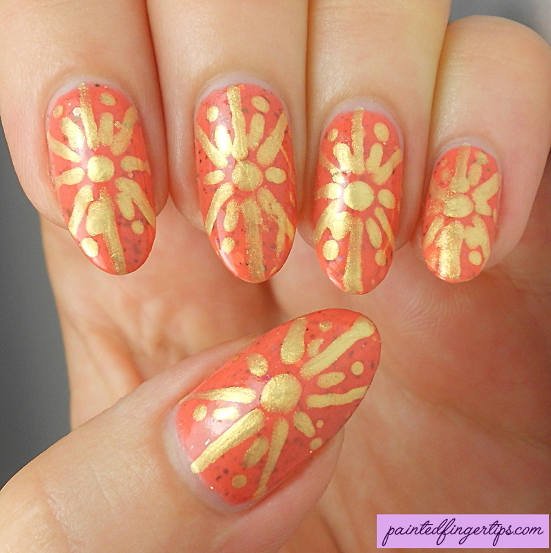 Orange and gold nail art by Kerry_Fingertips