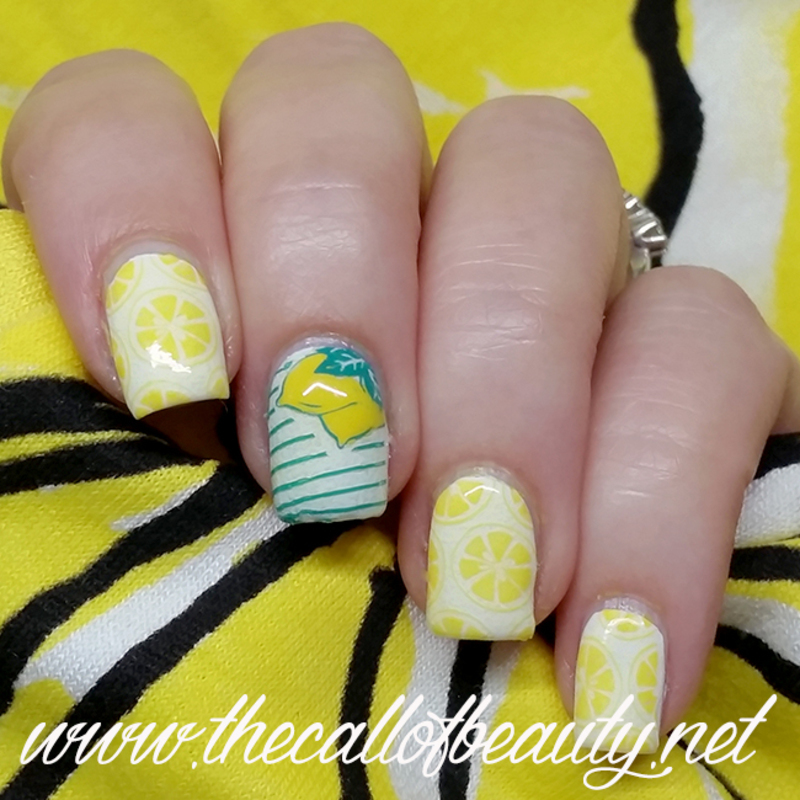 Lemonade nail art by The Call of Beauty