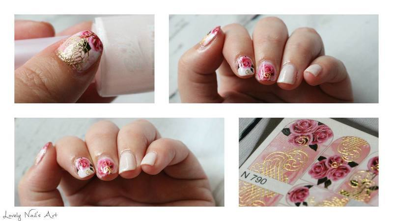 Water declas rose nail art by Lovely Nail's  Art