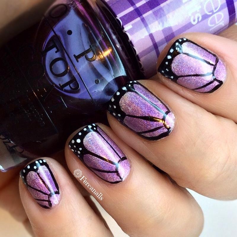 Buterflies  nail art by Fercanails