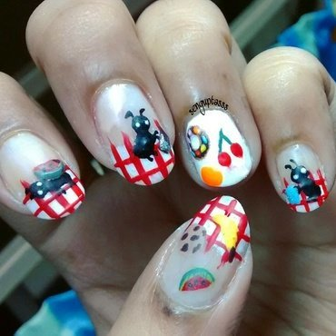 Picnic and Ants nail art by Sohini  Sengupta
