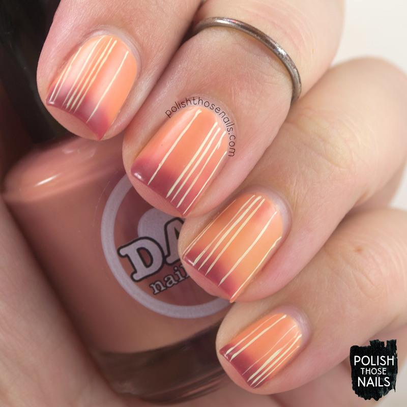 Burnt Stripes nail art by Marisa  Cavanaugh