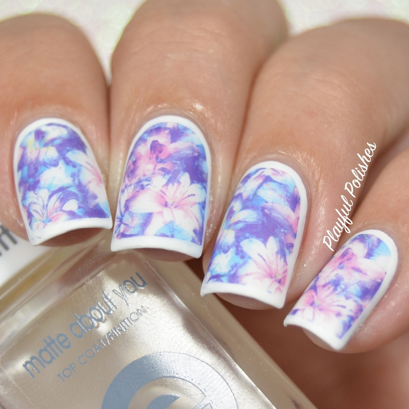 Matte Floral Decals nail art by Playful Polishes