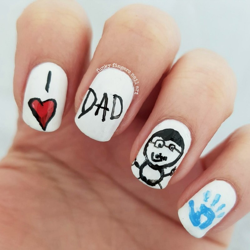 Fathers Day nails nail art by Funky fingers nail art