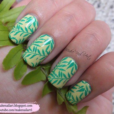 Tropical Leaves Nail Art Design nail art by Make Nail Art