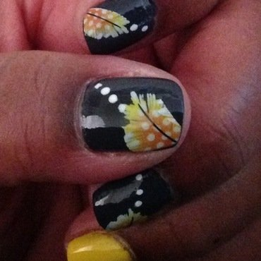 Yellow Feathers Meet Gunmetal Gray nail art by cNewman