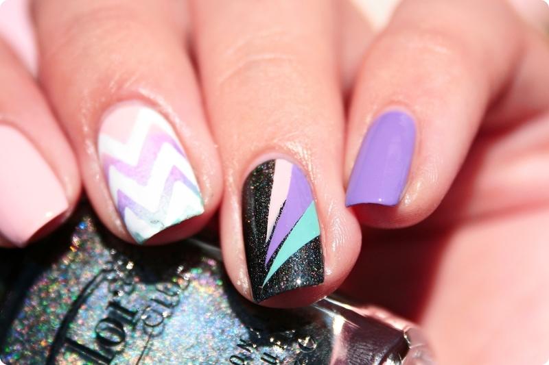 Holo & Pastel nail art by Romana