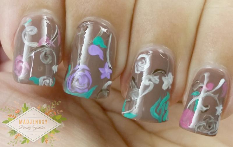 Chocolate Floral Artistic Nail Art  nail art by madjennsy Nail Art