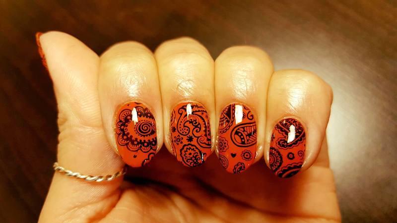 Pumpkin Paisley nail art by Alisha Worth