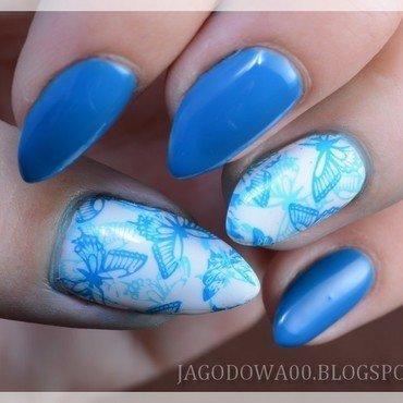 Blue butterflies nail art by Jadwiga