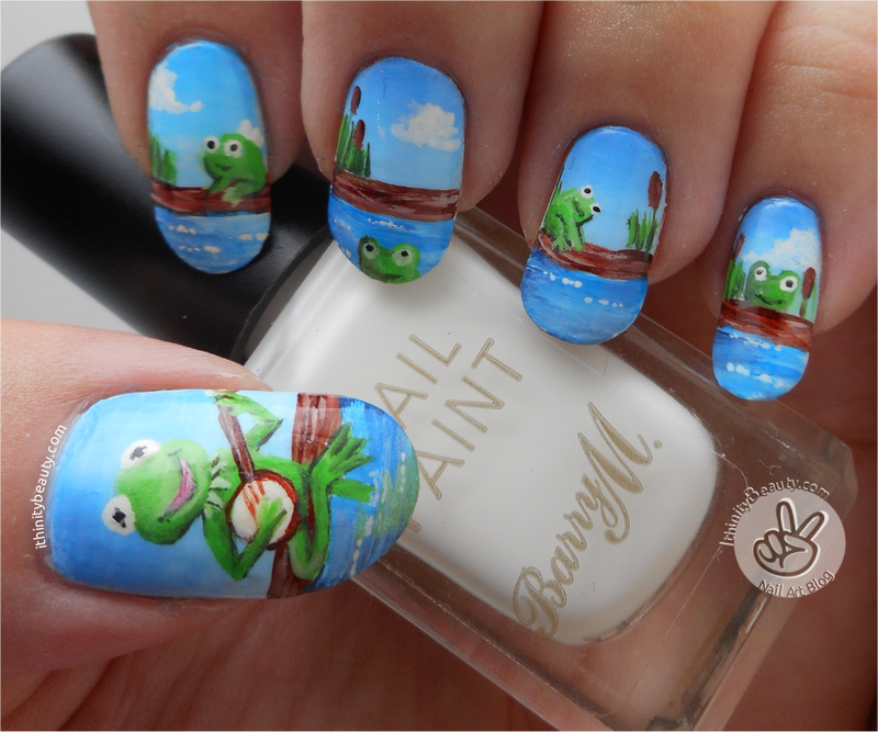 Freehand Kermit And Frog Friends nail art by Ithfifi Williams