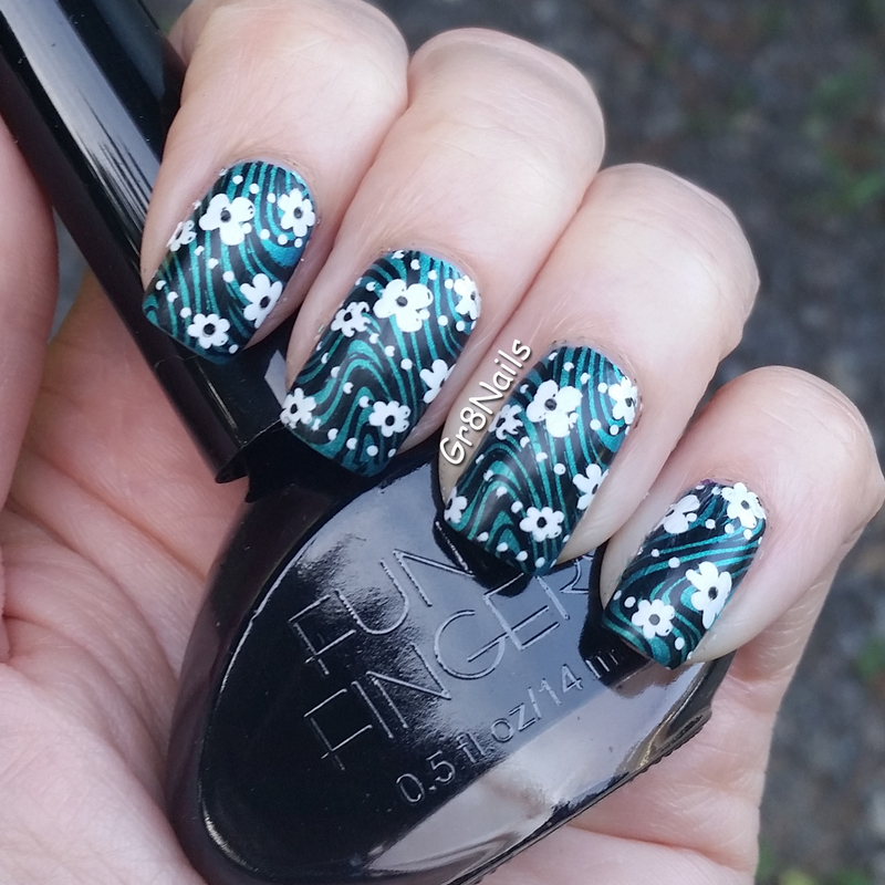 double stamped nail art by Gr8Nails