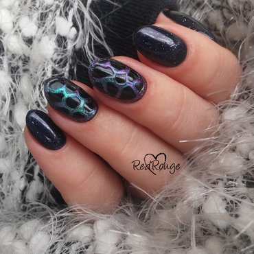 Galaxy nails in 3D nail art by RedRouge
