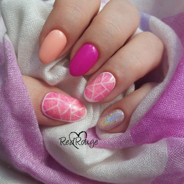 Pink mix nail art by RedRouge
