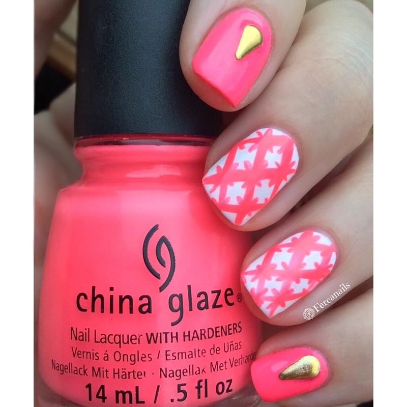 Neon nails nail art by Fercanails