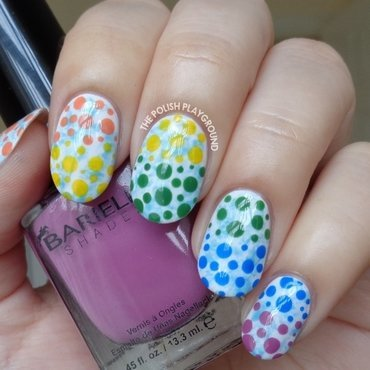 Blue Saran Wrap with Rainbow Dotticure nail art by Lisa N