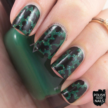 Green sparkly black blob nail art 4 thumb370f