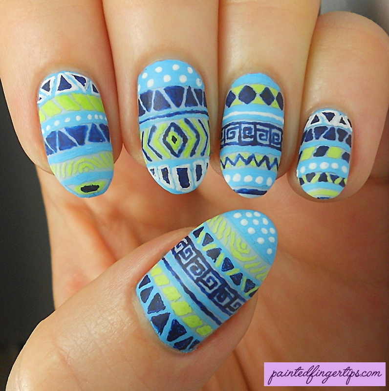 Blue tribal freehand nails nail art by Kerry_Fingertips