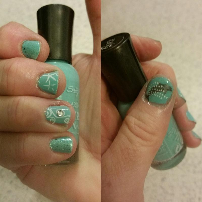 Dolphin Wave nail art by Jill Thompson