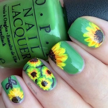 Sunflowers nail art by Fercanails