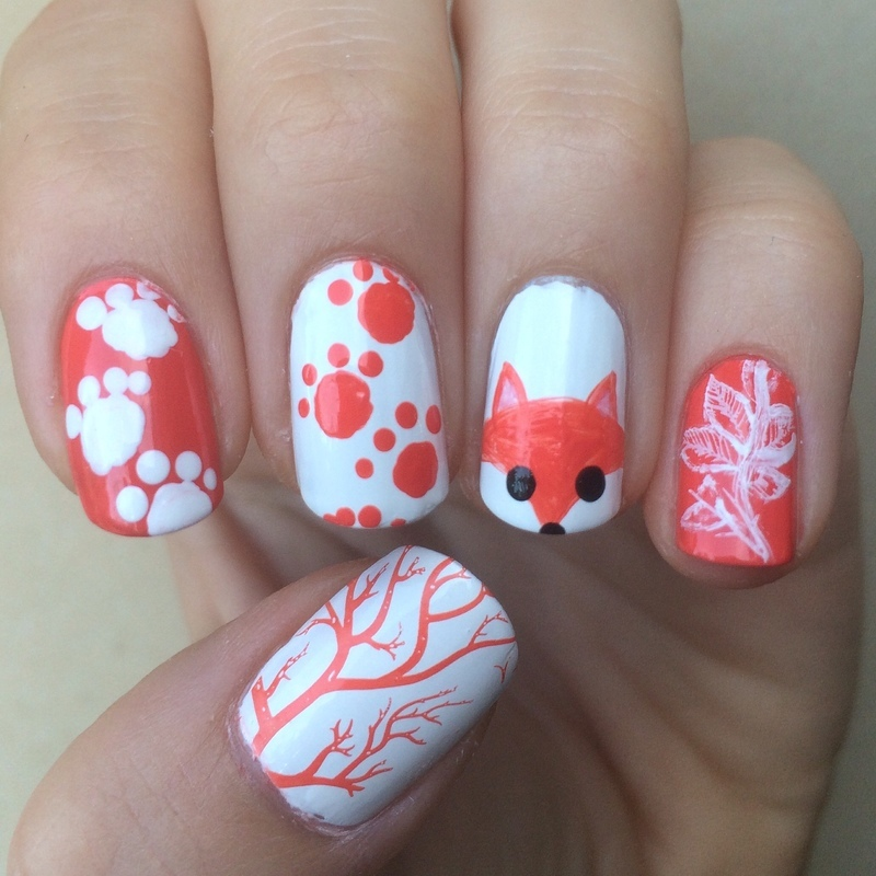 Forest Fox nail art by skier2201