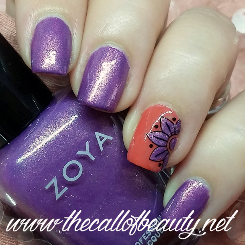 Violet Flower nail art by The Call of Beauty