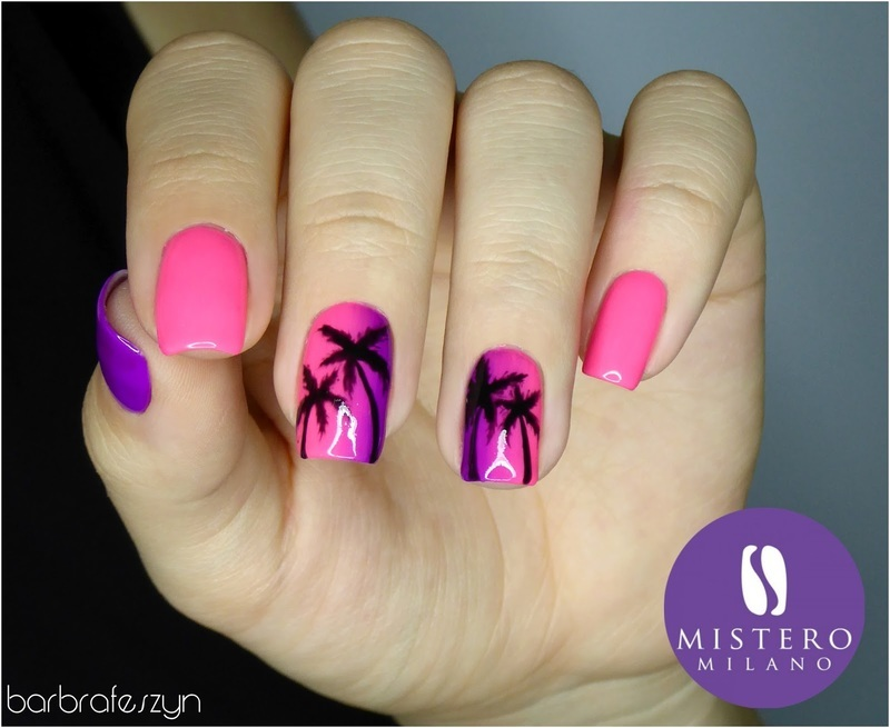 Neon pink nails nail art by barbrafeszyn