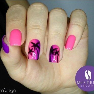 Neon pink nails nail art by barbrafeszyn