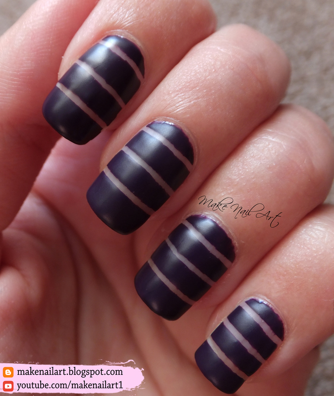 Striping Tape Purple Nail Art Design nail art by Make Nail Art