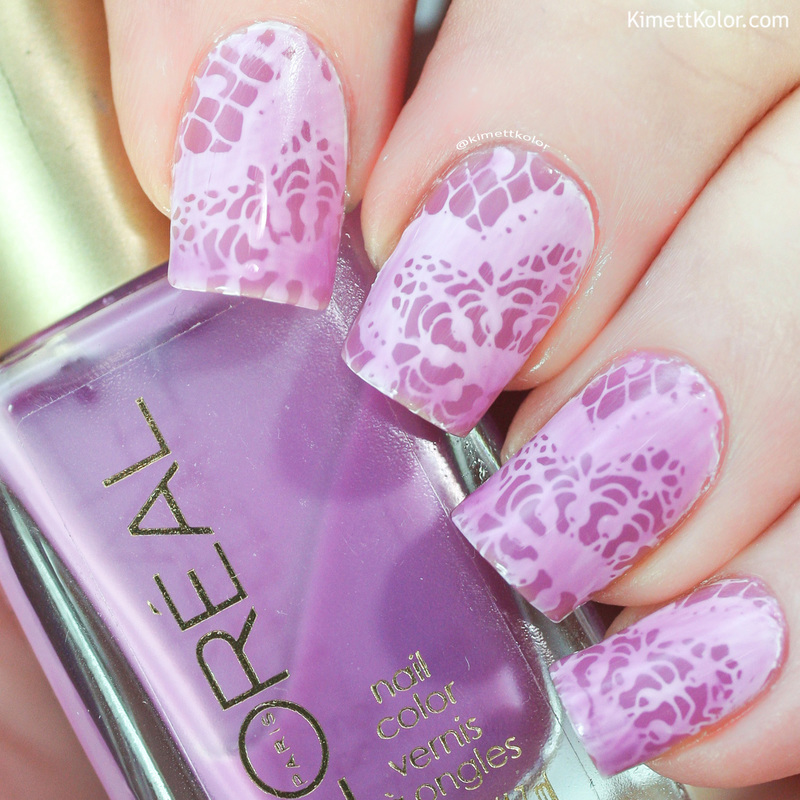 Lilac Lace nail art by Kimett Kolor