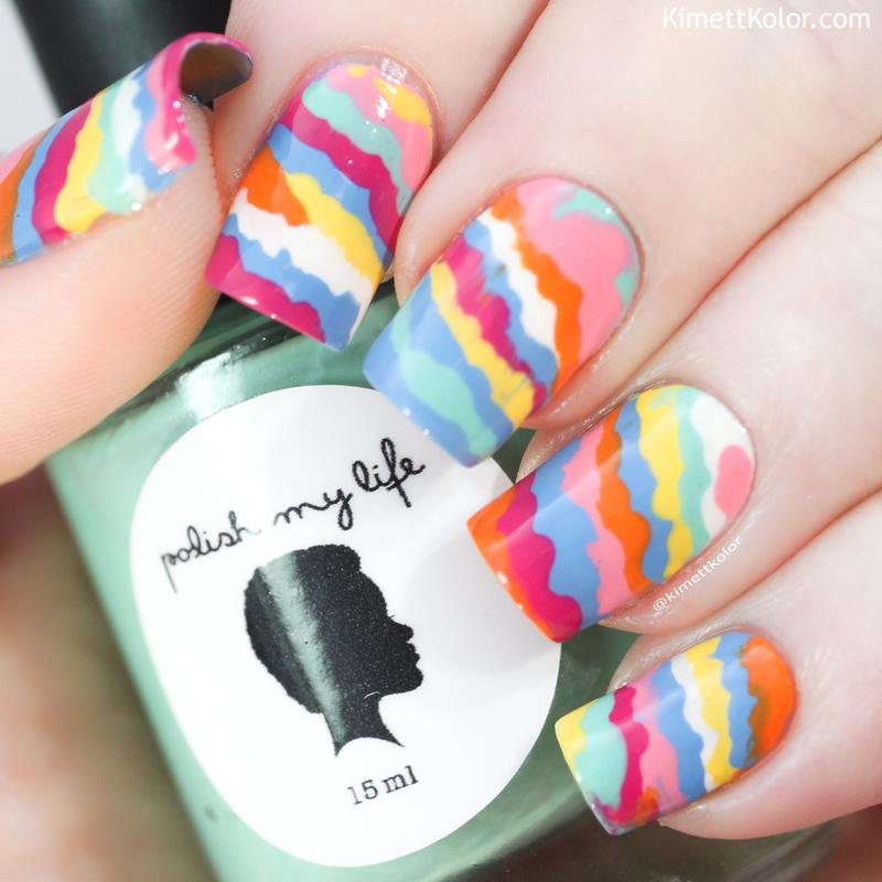 Summer Dribble nail art by Kimett Kolor