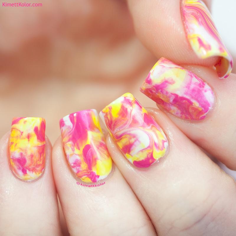 Pink Lemonade Smoosh nail art by Kimett Kolor