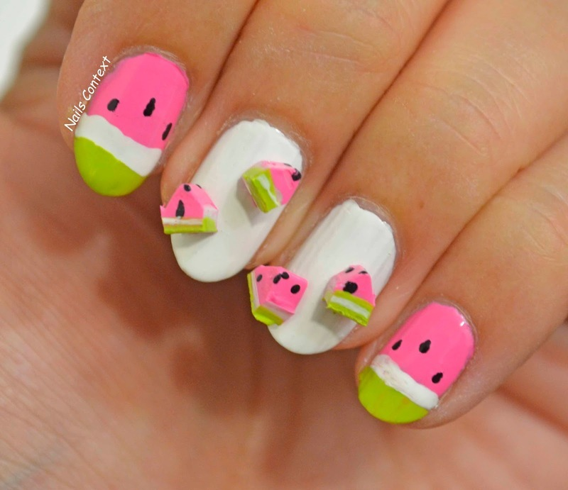 Watermelon Nails nail art by NailsContext