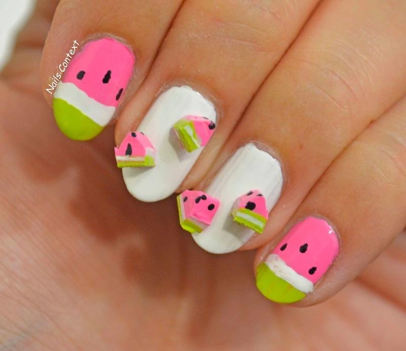 Watermelon Nails nail art by NailsContext