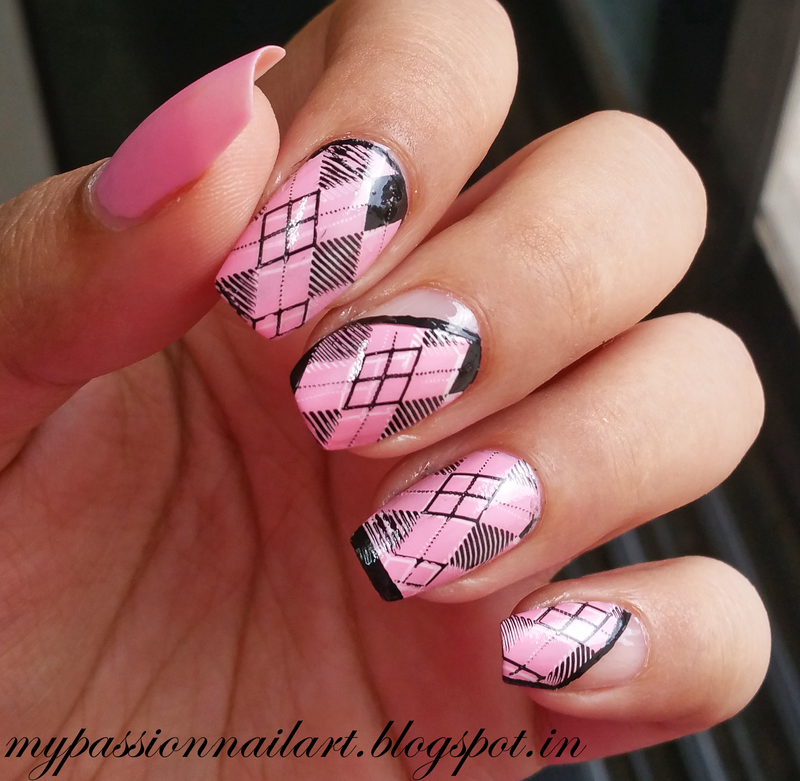 Pink Argyle Pattern Nail Art nail art by Aditi