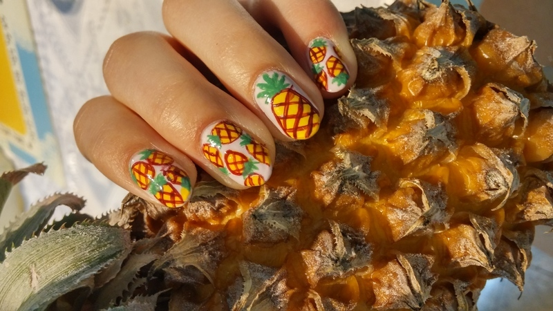 pineapple nail art by Maya Harran