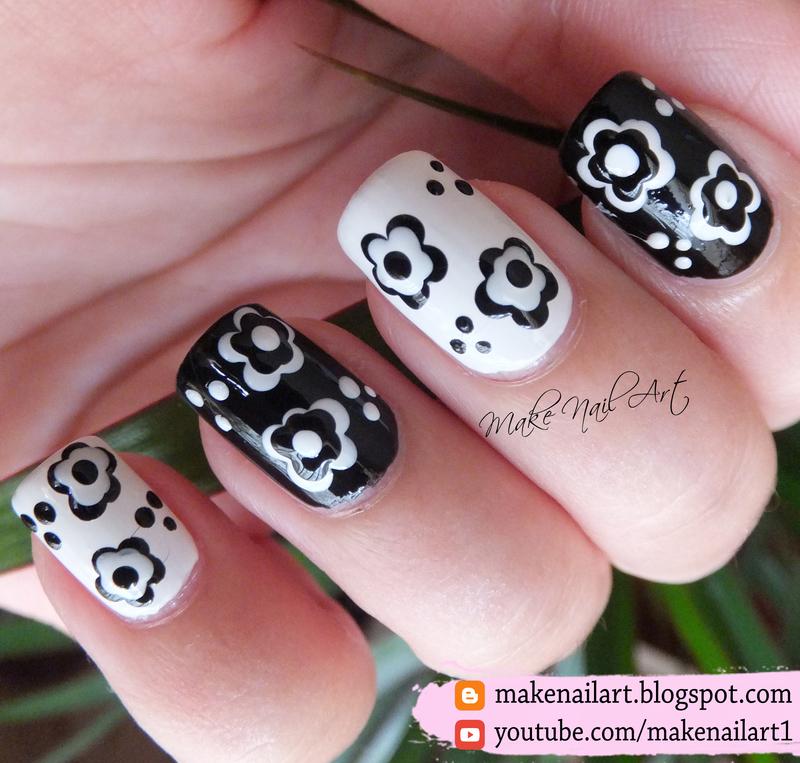 Black And White Flowers Nail Art Design nail art by Make Nail Art