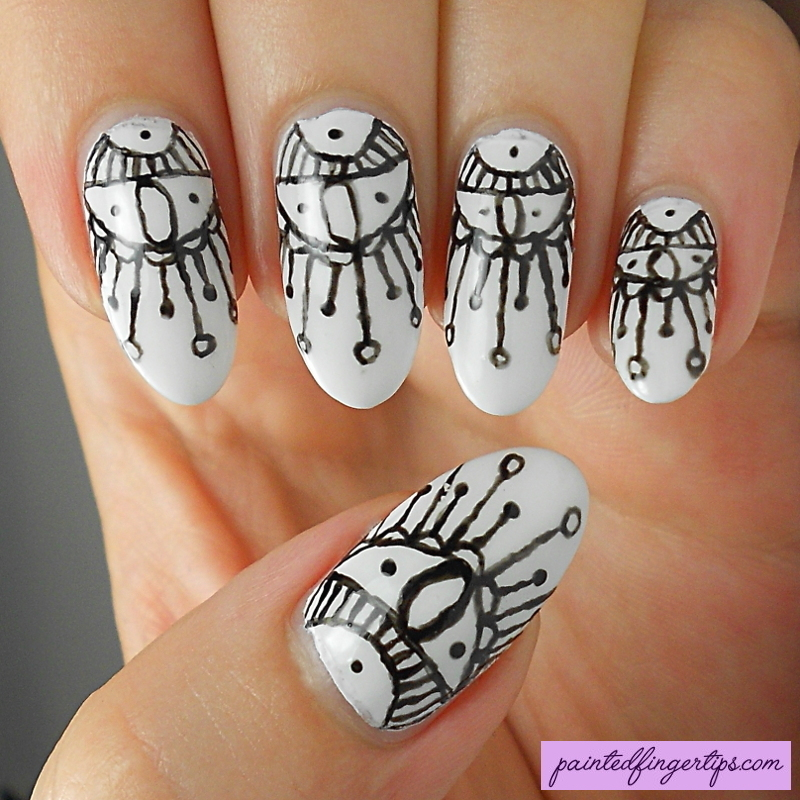 Freehand black and white nail art by Kerry_Fingertips
