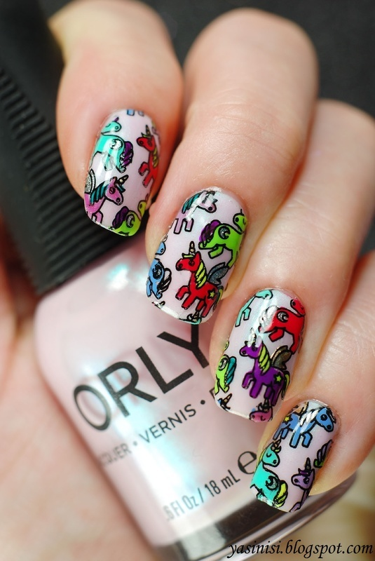 Unicorns nail art by Yasinisi