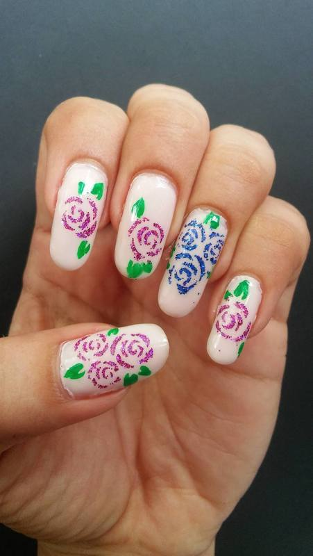 Not-so-back to school rose nail art nail art by Diana Joanes
