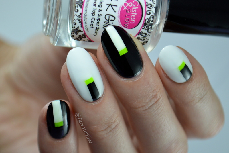 B&W Nails with a twist  nail art by Furious Filer