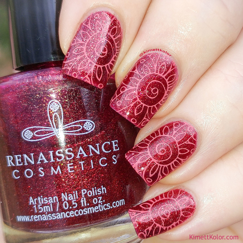 Crimson Flower Stamping nail art by Kimett Kolor