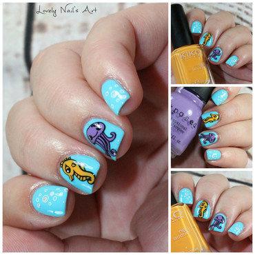 Nail art stamping ocean  nail art by Lovely Nail's  Art